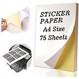 Autocollant, 75 feuilles de papier brillant A4 papier adhésif autocollant pour jet d'encre/imprimantes laser