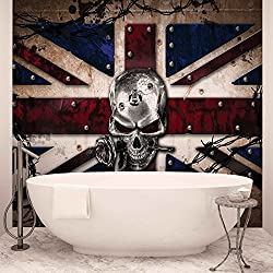 Alchemy Skull Union Jack Tattoo - Photo Wallpaper - Wall Mural - EasyInstall Paper - Giant Wall Poster - PANORAMIC - 250cm x 104cm - EasyInstall Paper - 1 Piece