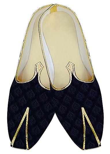 Mens Royal Blue Velvet Wedding Shoes Ethnic MJ15403