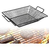 Cesta antiadherente de malla de acero para cocinar en una barbacoa