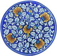 Aditya Blue Art Pottery Handmade Ceramic Decorative Plate (Blue)