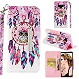 BONROY Samsung Galaxy Note 9 Case Cover, Pu Leather Wallet - Book Case, Flip Case [Card holder] [Drop resistance] [Scratch Resistant] [Shockproof] Case-(Owl - Wind Chime)
