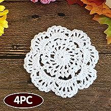 """Ambielly Piccolo Crochet rotonda pizzo di cotone Tovagliette sottobicchieri centrini per la Coppa / vetro, 4pcs / Pack (10cm / 3.9 """", Bianco)"""