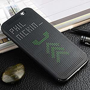Defender For HTC One M8 / M8 EYE Premium Best DOT VIEW Bumper Touch Flip Case Cover with Sensor - Black
