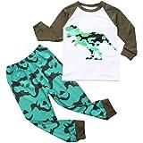 Pijama de Dos Piezas Dinosaurio para Niños Ropa de Hogar de Primavera de Manga Larga para Niño Top de Cuello Redondo En Color
