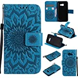 Galaxy A3 2017 Case, KKEIKO� Galaxy A3 2017 Flip Leather Case [with Free Tempered Glass Screen Protector], Shockproof Bumper Cover and Premium Wallet Case for Samsung Galaxy A3 2017 (Blue)