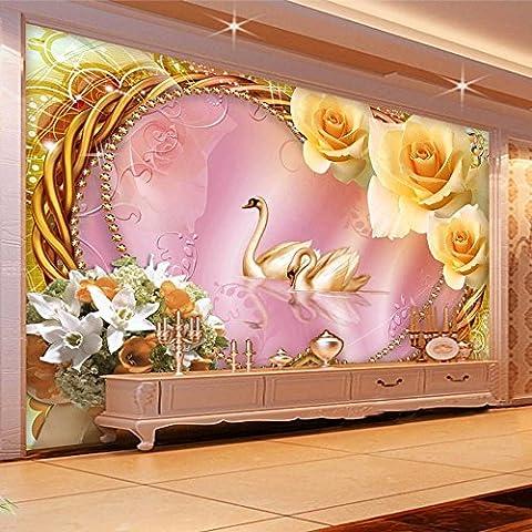 LWCX Benutzerdefinierte Größe im europäischen Stil Rose Lily Blumen Schwan Foto Wandbild Non-Woven 3D Wallpaper für Wohnzimmer Fernseher Sofa rosa Hintergrund200X140CM