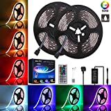 LED Strip Lights Kit GLIME 10m 300 LEDs Color Change IP65 Waterproof RGB LED Strips Lights with 12V Power Adapter 44 Key IR Remote Control for Christmas Garden Bar Party Home Decorations (2x5m)