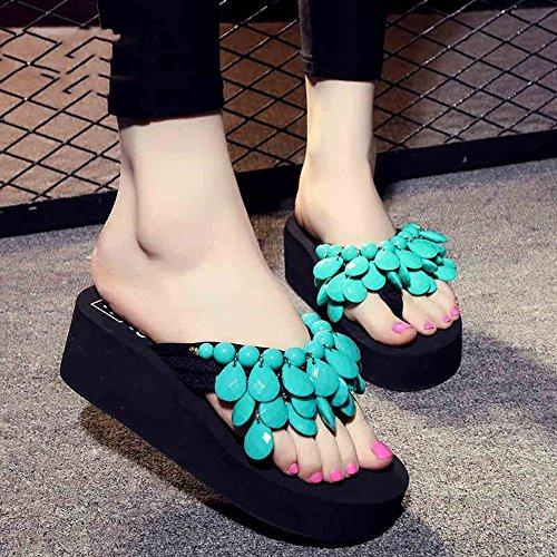 Pente avec sandales à talons hauts à bascule --- Pantoufles en perles faites à la main Chaussons épais Chaussures de plage Chaussons de sandales avec 8 couleurs --- Herringbone fashion sweet Sandals #1