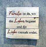 martoli Holzbild mit Spruch Familie ist da.