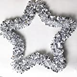 Star Kranz für Weihnachten, yoyoug tolle Dekoration bis zu Ihrer Tür und Wand Weihnachten Supplies Garland Kranz Tür Wand Home Ornament Party Decor Star, plastik, silber, Einheitsgröße