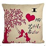 WesternBeddingDeco Kissenbezug mit Aufschrift I Love My Little Sister, 30,5 x 30,5 cm, Ecru