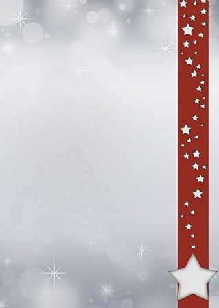 Motivpapier Briefpapier Weihnachten  Sterne im roten Banner 20 Blatt A4 stars