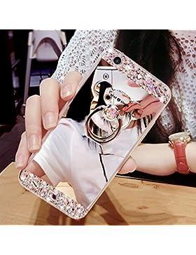 Galaxy A5 2017 Spiegel Hülle,Mirror Effect Silikon Case für Galaxy A5 2017,Leeook Luxus Kreativ Silber Diamant...