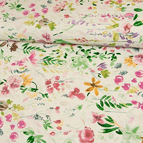 Stoffe Werning Dekostoff Blumenwiese Natur Bunt Canvasstoff Dekorationen Deko Vorhänge - Preis Gilt für 0,5 Meter