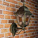 ANTICO XXL parete lampada parete esterna con vetro in TIFFANY STILE STILE NOSTALGICO / E27 fino 60W 230V IP44 / GIARDINO LANTERNA MURO DI CASA LUCE LAMPADA Rustico Casale Retrò Vintage
