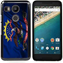 FJCases North Dakota The Peace Garden State Bandera Ondeante Carcasa Funda Rigida para Google Nexus 5X