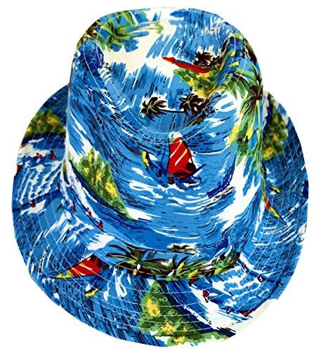 CLUB CUBANA Hawaiianische Fedora Hüte Für Männer Frauen Unisex Trilby Hut Panama Stil Sommer Strand Sonne Jazz Luau Kostüm Party Kappe Blau