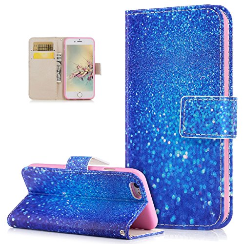 Custodia iPhone 6S, Custodia iPhone 6, Cover iPhone 6S, Cover iPhone 6, ikasus® iPhone 6/iPhone 6S Colorato verniciato Custodia Cover [PU Leather] [Shock-Absorption] Protettiva Portafoglio Cover Custo Sabbia blu
