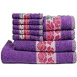 Trident 425 GSM Floral Collection 9 Pcs Towel set, Purple (Bath,Hand & Face Towel Set) - Purple & Pink…
