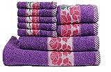 #1: Trident 425 GSM Floral Collection 9 Pcs Towel set, Purple (Bath,Hand & Face Towel Set) - Purple & Pink…