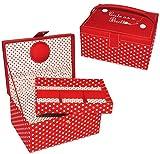 alles-meine.de GmbH 2 tlg. Nähkorb groß Eckig - Rot Weiß Punkte Stoff / Nähkasten Nähkästchen - Bunt Handarbeitskorb Rote Gepunktet Polka Dots - für Erwachsene & Kinder - Nähset