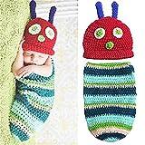 Vikenner Unisex Baby Infant Caterpillar Stil Kostüm Niedlichen Foto Foto Requisiten Handgemachte Häkelarbeit Beanie Hut Cap Outfits Kleidung