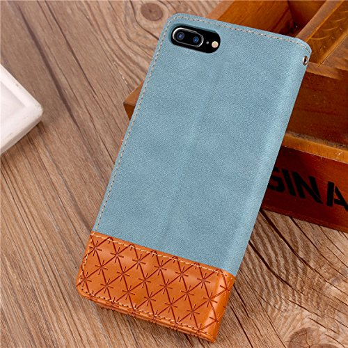 iPhone 7 Plus Custodia, iPhone 7 Plus Custodia Portafoglio, iPhone 7 Plus Cover Pelle, JAWSEU Lusso Denim Pelle Patchwork Flip Cover Custodia per iPhone 7 Plus Cover Copertura con Morbida Gel Silicone Denim Blu