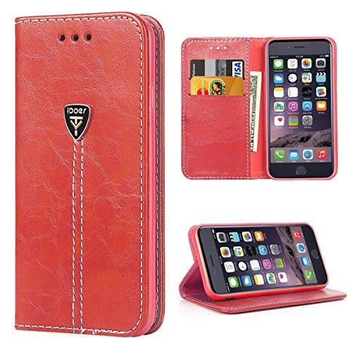 Coque iPhone 6S, Silicone Housse étui Portefeuille à rabat Cuir Fermeture Magnétique Protection iPhone 6 Case ecriture Béquille Coque 6s en anti choc pour Apple iPhone 6 6S 4.7 Pouces Coffee rouge