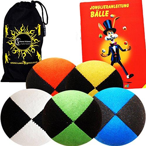 Jonglierbälle 5er Set - Profi Beanbag Bälle aus Velours + Bälle-Booklet (in Deutsch) +Tasche. Komplett-Set Ideal Für Anfänger Wie Auch Für Profis. -
