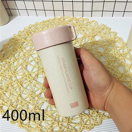 Damlonby Sports d'eau petite coupe coupe facilement des élèves masculins et féminins des gobelets en plastique portable simple ,400ml Pink
