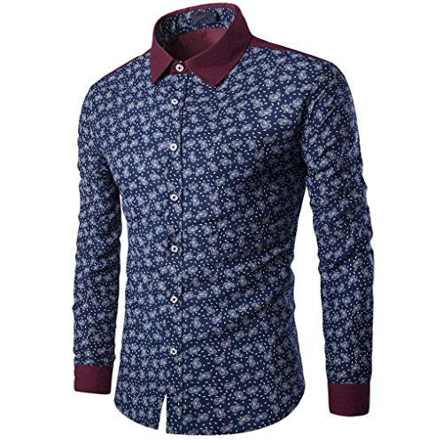 Herren Hemd Slim Fit Bügelleicht Super Modern super Qualität Langarmhemd für Herren Business Slim Fit Shirt Druck Bluse Top (Marineblau, L) (Paul Fleece Frank)