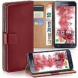 moex Samsung Galaxy J5 (2015) | Hülle Dunkel-Rot mit Karten-Fach 360° Book Klapp-Hülle Handytasche Kunst-Leder Handyhülle für Samsung Galaxy J5 2015 Case Flip Cover Schutzhülle Tasche