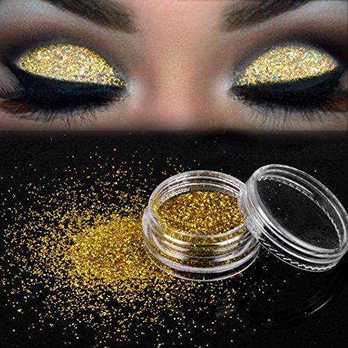 Pallette Fards à Paupière, Moonuy Glitterly maquillage paillettes poudre fard à paupières Chunky sirène holographique paillettes très pigment Silver Eye Shadow (Or)