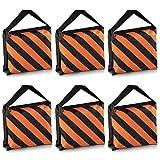 Neewer® Set von 6 Schwarz / Orange Sandsack Fotografie Studio Video Bühne Film Sandsack Satteltaschen für Lichtstative Ausleger Arme Stative
