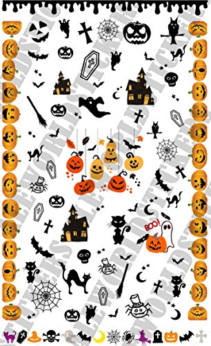 AWS Nail Art Water Decals Halloween Nägel Sticker R.I.P RAGNO Spider Sheet Stickers Transfer Decalcomania Fledermaus Dessertscherze Trick treat pumpkin
