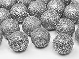 25 Glitzer Dekokugeln Dekobälle silber 2 cm - Weihnachten - Silberhochzeit