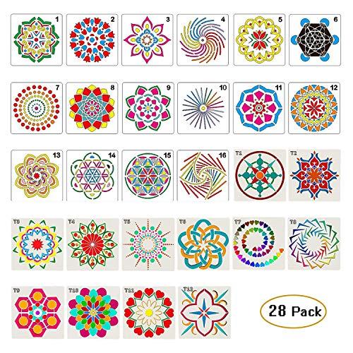 Abay Moon 28 Stück Mandala-Dot Malvorlagen Schablonen für DIY Steine, Airbrush Wand Kunst Leinwand Holz Möbel Karten Malerei Kunstprojekte