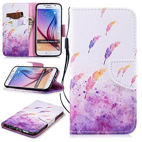 Galaxy S6 Leder Handytasche, Edaroo Lustig Schmetterling Muster Ultra Slim PU Leder Tasche Bookstyle Lederhülle Schutzhülle für Samsung Galaxy S6 - Pastell Lila Feder