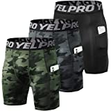 Lixada Men's 3 Pack Performance Shorts Active Workout Underwear Base Layer Tights Short Leggings