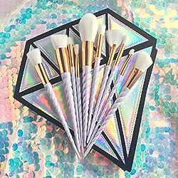 Xiton Brochas de Maquillaje, Set de 10 Pinceles de Maquillaje Profesional Maquillaje Make Up Brochas brochas de maquillaje unicornio Cosméticos Cepillos de Maquillaje Set (Sin bolsa de cepillo)