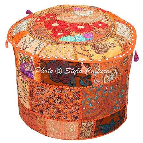 Stylo Culture Puf Asiento Puf Otomana Puf Cubierta Grande Naranja Étn
