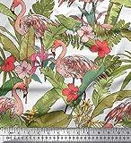 Soimoi Weiß Modal Satin-Gewebe-Flamingo, Blätter tropischer Dekor Stoff gedruckt BTY 42 Inch Breite