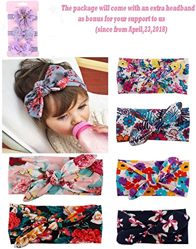 BESTIM INCUK 6-Pack Assorted-Color Baby Girls Toddler Kids Bunny Rabbit Bow Knot Turban Headband Hairband Headwrap Headwear for Photography Props,Costume,Party