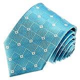 Lorenzo Cana Marken - Krawatte aus 100% Seide Türkis Weiß Hellblau Karos 84533