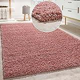 Shaggy Teppich Hochflor Langflor Hochwertig Hohe Fadendichte Uni Pastell Pink, Grösse:160x220 cm