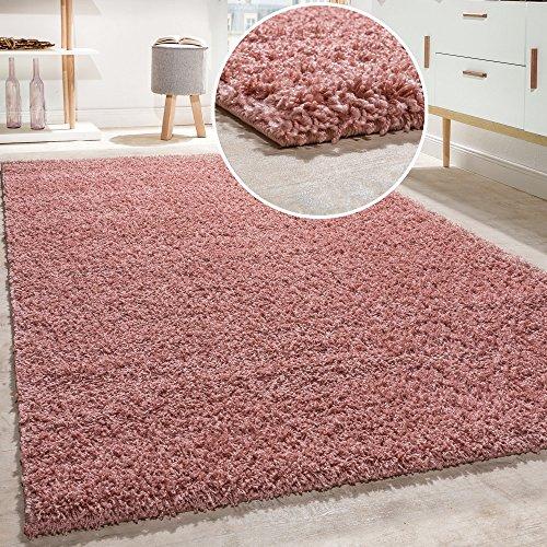 Alfombra Shaggy De Pelo Alto Y Largo De Alta Calidad Pastel En Distintos Colores, tamaño:120x170 cm, Farbe:Pink