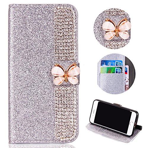 Shinyzone Huawei P10 Plus Bling Glitzer Flip Brieftasche Hülle,Huawei P10 Plus Hülle,Luxus Diamant [3D Schmetterling Magnetverschluss] [Standfunktion] mit Kartenhalter,Anti-Scratch PU Leder Stoßfest Schutzhülle für Huawei P10 Plus,Silber