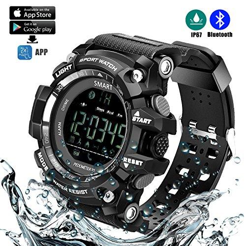 Reloj Deportivo Inteligente (Podómetro, Entrenamiento Fitness, Tencología IP67 Resistente al Agua, Control Remoto de la cámara, Equipamiento para Running) Pra Smartphones Android e iOS