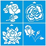 (Satz von 4) 10cm x 10cm Flexibel Kunststoff Universal Schablone - Wand Airbrush Möbel Textil Decor Dekorative Muster Design Kunst Handwerk Zeichenschablone Wandschablone - Blumen Rose